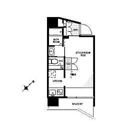 東京メトロ南北線 六本木一丁目駅 徒歩6分の賃貸マンション 8階ワンルームの間取り