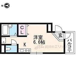 阪急京都本線 西院駅 徒歩8分の賃貸マンション 3階ワンルームの間取り