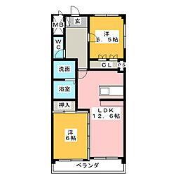 サンハイツ朝宮[2階]の間取り
