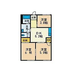 グリーンハイツ愛川A[1階]の間取り