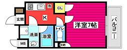 仙台市地下鉄東西線 大町西公園駅 徒歩7分の賃貸マンション 7階1Kの間取り