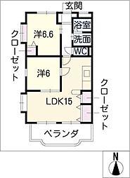ユーミーマンションオリーブ通りB館[2階]の間取り
