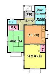 作田貸家1号棟 1階2DKの間取り