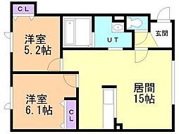 タウンハウス西野参番館 3階2LDKの間取り