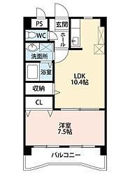 福岡県北九州市小倉南区南方3丁目の賃貸マンションの間取り