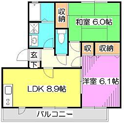 東京都東久留米市本町3丁目の賃貸マンションの間取り