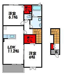 福岡県遠賀郡遠賀町大字今古賀の賃貸アパートの間取り