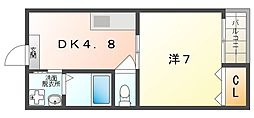 エルソル 2階1DKの間取り