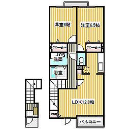 愛知県名古屋市中川区万場2丁目の賃貸アパートの間取り