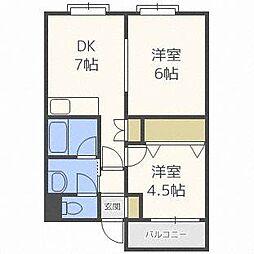 北海道札幌市白石区南郷通11丁目南の賃貸マンションの間取り