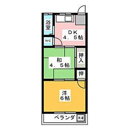コーポ三崎第2[2階]の間取り