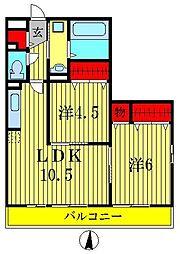 埼玉県三郷市鷹野3丁目の賃貸アパートの間取り