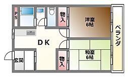 滋賀県大津市坂本7丁目の賃貸マンションの間取り