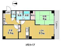 フォブール喜多町 3階2LDKの間取り