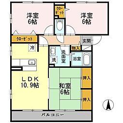 福岡県北九州市若松区高須西1丁目の賃貸アパートの間取り