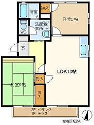 マロンハイツ3 203[2階]の間取り