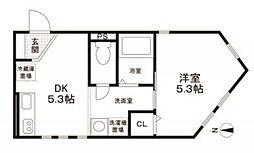 東京都大田区矢口3丁目の賃貸アパートの間取り