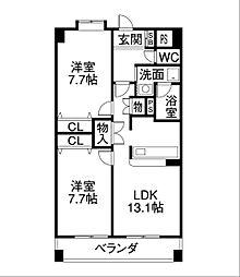 愛知県名古屋市熱田区白鳥町の賃貸マンションの間取り