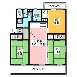 ローヤルマンション野間[2階]の間取り