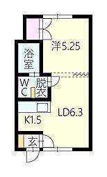 ロンシャン東旭川[2階]の間取り
