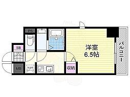 阪急京都本線 上新庄駅 徒歩4分の賃貸マンション 3階1Kの間取り