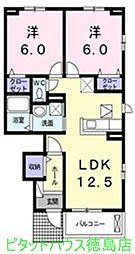 徳島県徳島市北沖洲4丁目の賃貸アパートの間取り