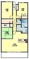 愛知県岡崎市上六名3丁目の賃貸マンションの間取り