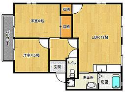 京都府京都市西京区川島東代町の賃貸アパートの間取り