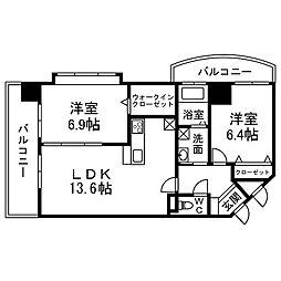 福岡県北九州市小倉南区葛原東3丁目の賃貸マンションの間取り