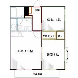 JR中央本線 武蔵小金井駅 徒歩13分の賃貸アパート 1階2LDKの間取り