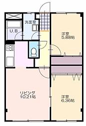 レジデンスKouei 4階2LDKの間取り