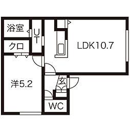 プールフィス 2階1LDKの間取り