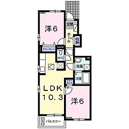 東京都八王子市元八王子町3丁目の賃貸アパートの間取り