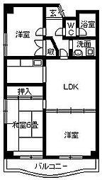 徳島県徳島市北佐古一番町の賃貸マンションの間取り