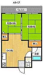 Aグリーンコーポ北加賀屋[5階]の間取り