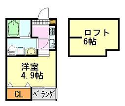 千葉県千葉市中央区宮崎1丁目の賃貸アパートの間取り