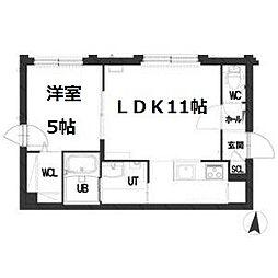 札幌市営南北線 幌平橋駅 徒歩13分の賃貸マンション 4階1LDKの間取り