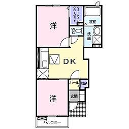 JR東海道本線 島田駅 バス47分 鹿島下車 徒歩4分の賃貸アパート 1階2DKの間取り