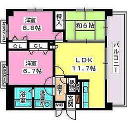 シャトレ東 4階3LDKの間取り