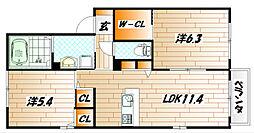 福岡県北九州市小倉北区緑ケ丘3丁目の賃貸アパートの間取り