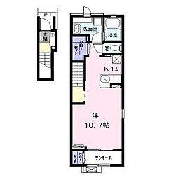 名古屋市営名港線 日比野駅 徒歩17分の賃貸アパート 2階ワンルームの間取り