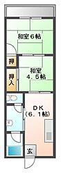 大阪府豊中市野田町の賃貸マンションの間取り