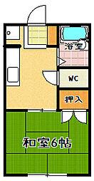 滋賀県大津市大江5丁目の賃貸アパートの間取り