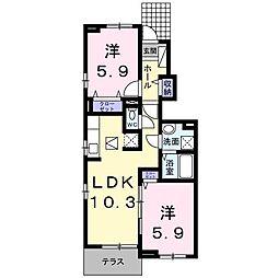 ロータス南島田C[106号室]の間取り