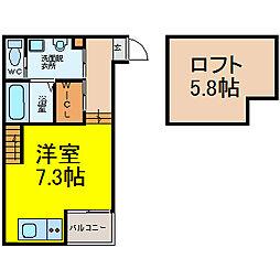 愛知県名古屋市北区杉栄町4丁目の賃貸アパートの間取り