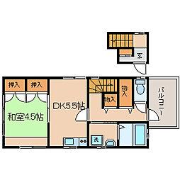 兵庫県神戸市須磨区大田町2丁目の賃貸アパートの間取り
