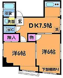 東京都調布市布田4丁目の賃貸マンションの間取り