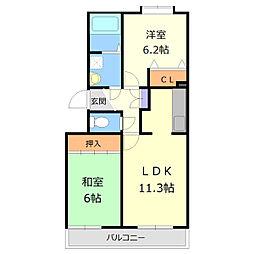 メゾンドインペリアルII[2階]の間取り