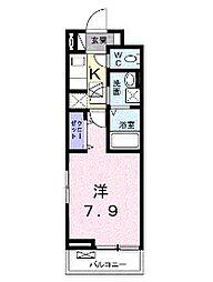小田急小田原線 読売ランド前駅 徒歩13分の賃貸アパート 2階1Kの間取り