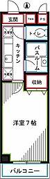 JR中央本線 国分寺駅 徒歩7分の賃貸マンション 3階1Kの間取り